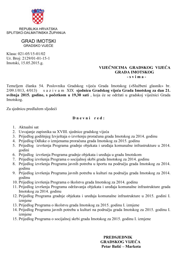 Poziv za XVIII. sjednicu gradskog vijeća  22.05.2015.g.